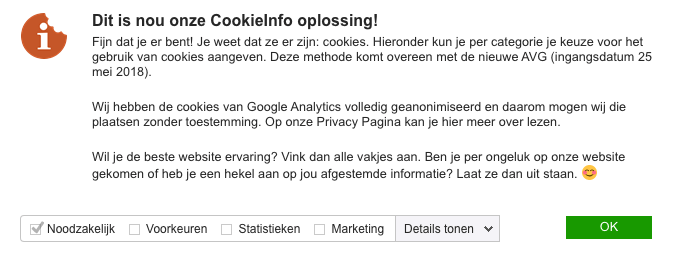 Google Analytics in cookie banner