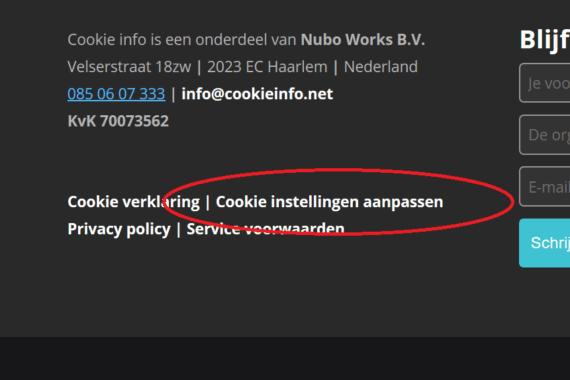 Op de CookieInfo website kun je door één druk op de knop je toestemming wijzigen of intrekken.