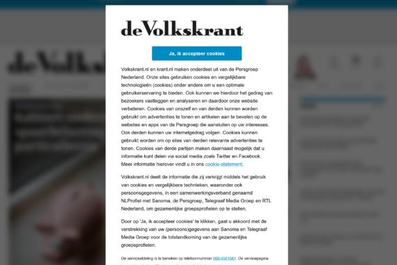Er zijn meerdere bedrijven die een cookiewall gebruiken. Dit is de cookiewall van de Volkskrant (oktober 2019)