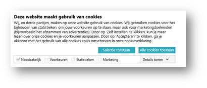 Cookiebot banner - Selectie toestaan / Alle cookies toestaan
