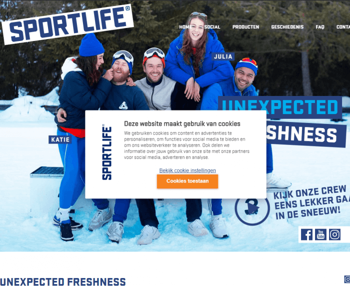 Sportlife CookieInfo custom banner example